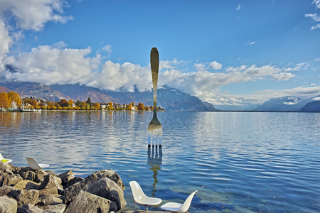 Panoramic view of Lake Geneva from town of Vevey, canton of Vaud, Switzerland Stock Photo