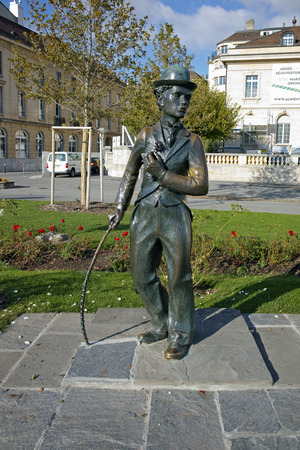 chaplin: Charlie Chaplin monument in town of Vevey, canton of Vaud, Switzerland Editorial
