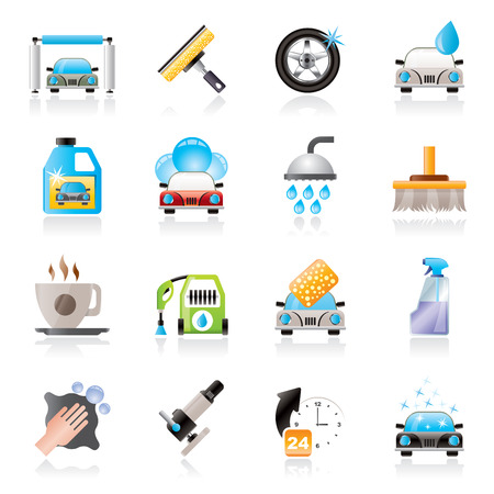 Professional car wash objects and icons - vector icon set Illustration