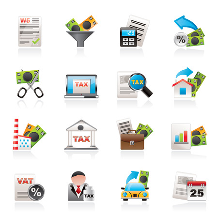 tax return: Taxes, business and finance icons - vector icon set