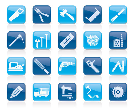 logging: Carpentry, logging and woodworking icons - vector icon set Illustration