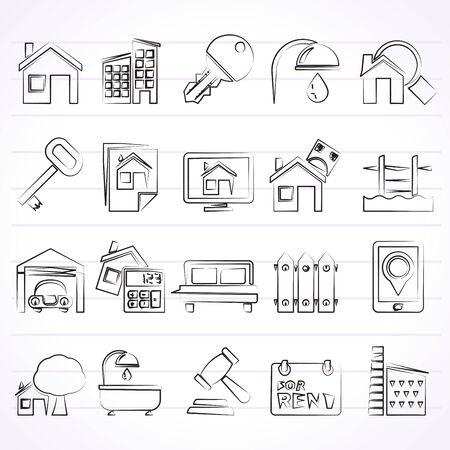 Inmobiliaria iconos de negocios - Vector Icon Set