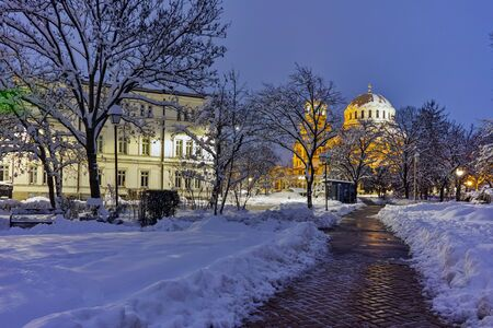 nevsky: Night photo of Alexander Nevsky Cathedral and Bulgarian parliament, Sofia, Bulgaria