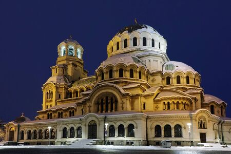 alexander nevsky: Alexander Nevsky Cathedral lit with yellow light, Sofia, Bulgaria
