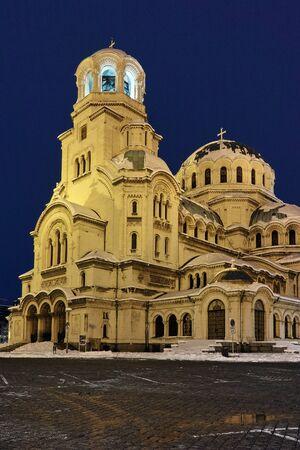 nevsky: Night winter picture of Alexander Nevsky Cathedral, Sofia, Bulgaria