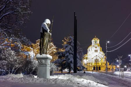 samuel: Night photo of  Alexander Nevsky square and Tsar Samuel Monument, Sofia, Bulgaria Editorial