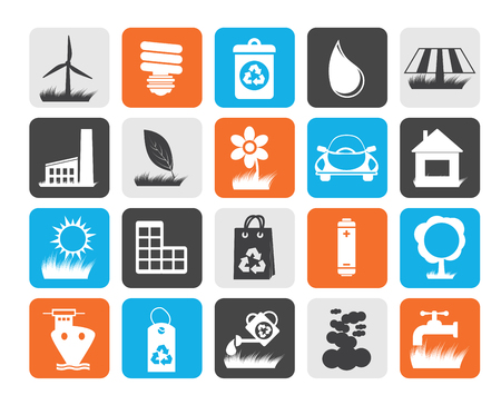 solar collector: Flat Ecology and nature icons - vector icon set Illustration