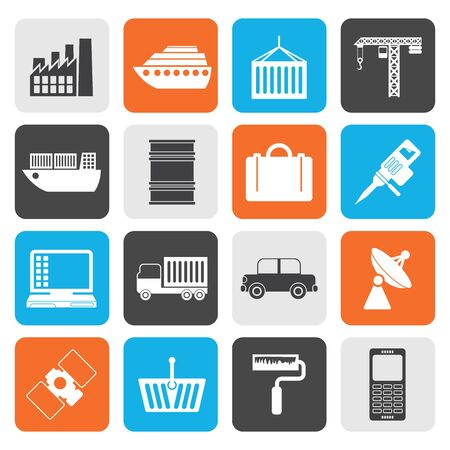 mine site: Flat Industry and Business icons - vector icon set