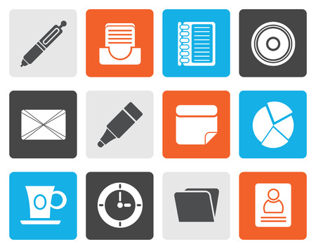 unloading: Flat Office  Business Icons - Vector icon Set Illustration