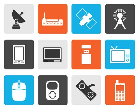 communications technology: Flat technology and Communications icons - vector icon set Illustration