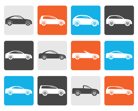 cabrio: Flat different types of cars icons - Vector icon set Illustration