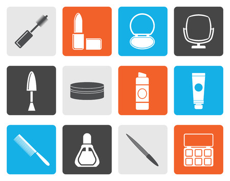 index card: Flat cosmetic and make up icons - vector icon set