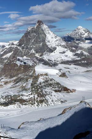 valais: Winter view of mount Matterhorn, Canton of Valais, Alps, Switzerland Stock Photo