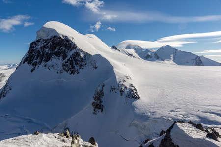 valais: Winter Landscape of swiss Alps and mount Breithorn, Canton of Valais, Switzerland