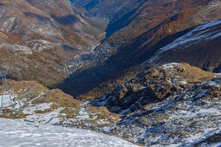 valais: Zermatt Resort view down upon, Alps, Canton of Valais,  Switzerland Stock Photo