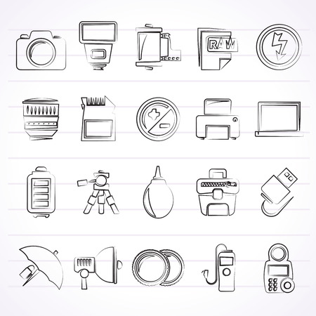 metering: Camera equipment and photography icons - Vector Icon Set