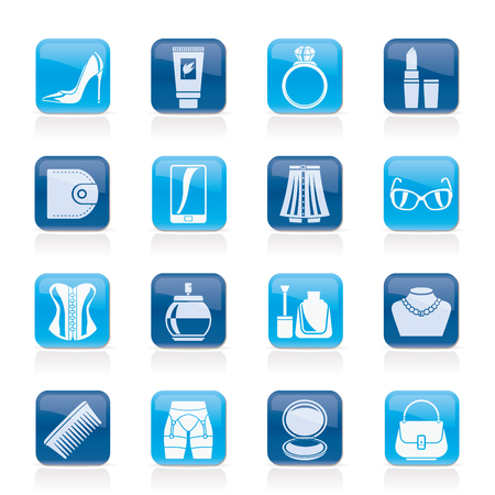 suspender: Female accessories and clothes icons- vector icon set