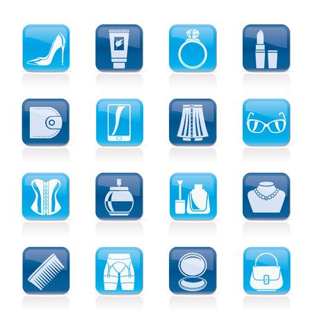 Weibliches Zubehör und Kleidung-Symbole-Vektor-Icon-Set