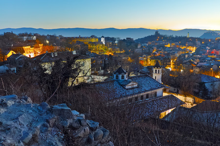Amazing Night Cityscape of city of Plovdiv from Nebet tepe hill, Bulgaria Stok Fotoğraf