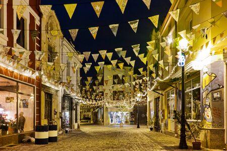 cobblestone street: Night photo of Cobblestone street  in district Kapana, city of Plovdiv, Bulgaria