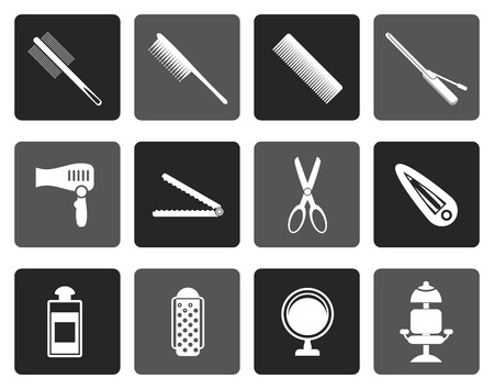 drier: Flat hairdressing, coiffure and make-up icons- vector icon set