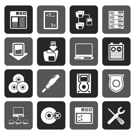 server side: Flat Server Side Computer icons - Vector Icon Set Illustration