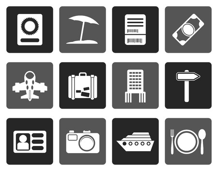 plate camera: Flat travel, trip and holiday icons - vector icon set