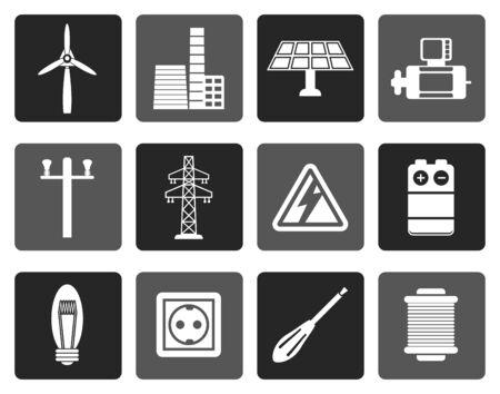 turbina de vapor: Electricidad y energía iconos planos - icono conjunto de vectores
