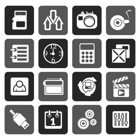 gsm phone: Flat phoneperformance, internet and office icons - vector icon set