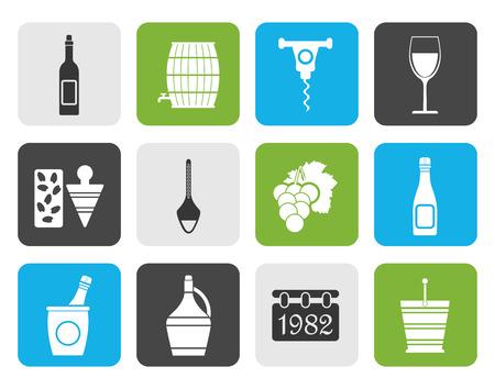 wine trade: Flat Wine Icons - Vector Icon Set
