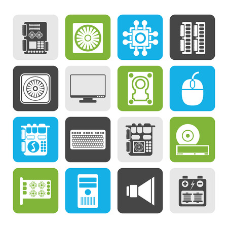 mainboard: Flat Computerperformance and equipment icons - vector icon set