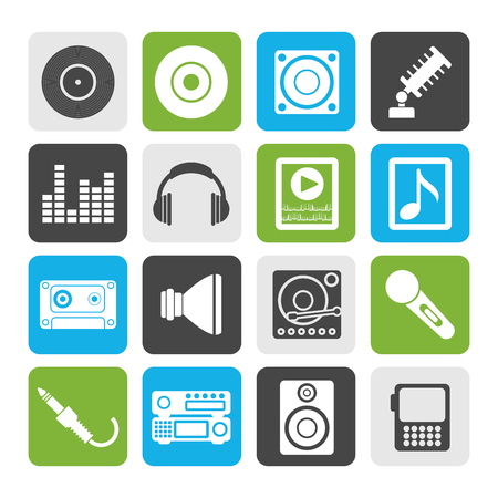 recorded: Flat Music and sound icons -Vector Icon Set Illustration