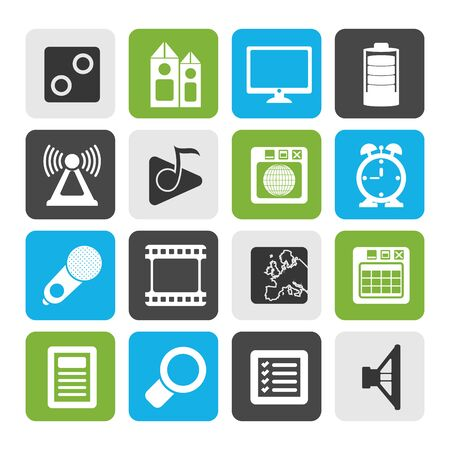 gsm phone: Flat Mobile phoneperformance, internet and office icons - vector icon set
