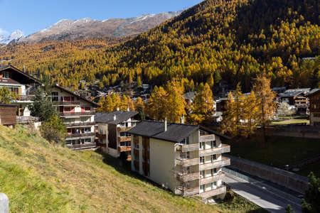 valais: Panoramic view to Zermatt Resort, Canton of Valais, Switzerland Stock Photo