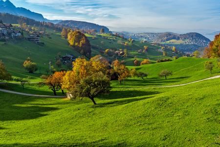 interlaken: Autumn Landscape of typical Switzerland village near town of Interlaken, canton of Bern Stock Photo