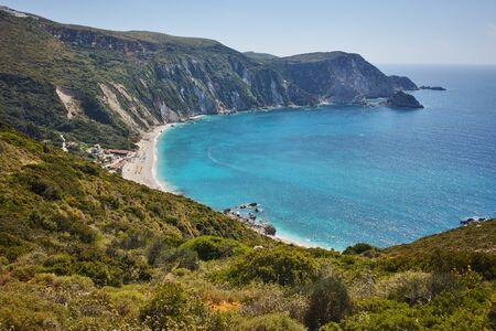 cefallonia: Amazing Paorama of Petani Beach, Kefalonia, Ionian Islands, Greece Stock Photo