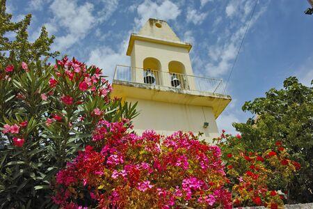 cefallonia: Otthodox church with spring flowers, Kefalonia, Ionian islands, Greece