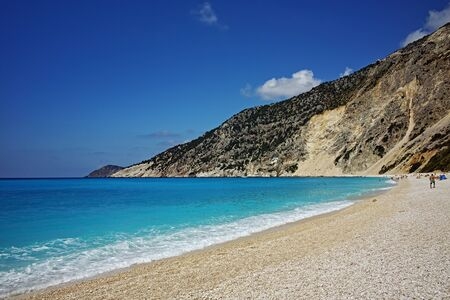 cefalonia: Blue waters of Myrtos Beach, Kefalonia, Ionian Islands, Greece
