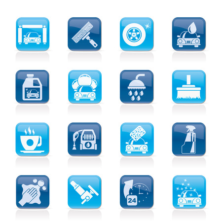 Professional car wash objects and icons - vector icon set 向量圖像