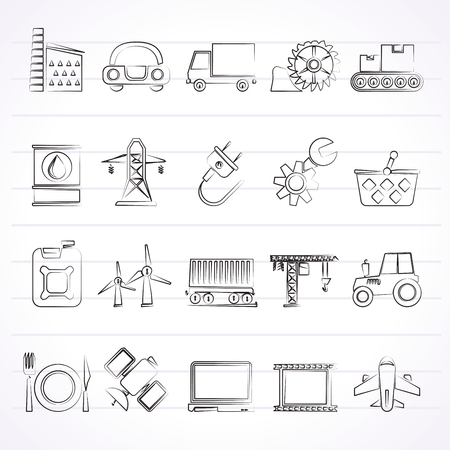 powerhouse: Business and industry icons - vector icon set