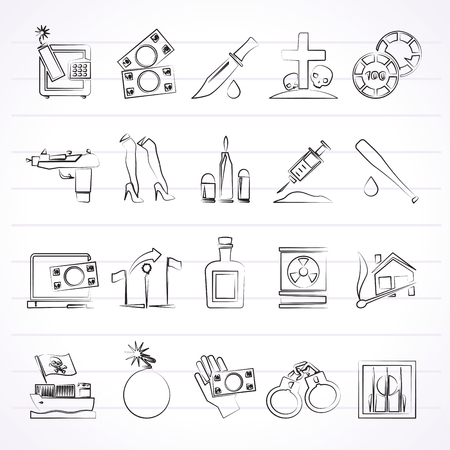prostitution: Mafia, Gangster and organized criminality activity icons - vector icon set Illustration