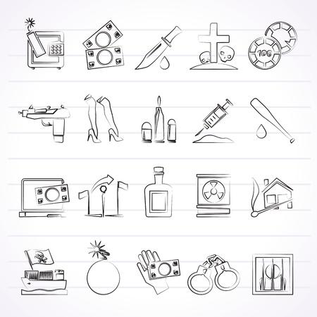 Mafia, Gangster and organized criminality activity icons - vector icon set Illustration