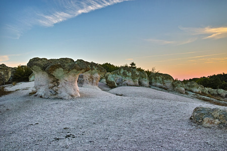 Prodigy: Panoramic view of  a rock formation The Stone Mushrooms near Beli plast village, Kardzhali Region, Bulgaria