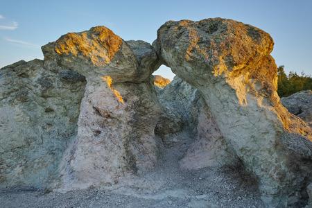 prodigy: The first rays of the sun over  The Stone Mushrooms near Beli plast village, Kardzhali Region, Bulgaria