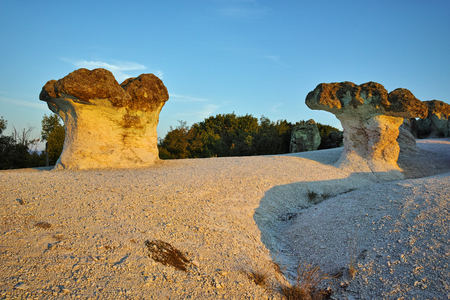 Prodigy: Sunrise landscape of The Stone Mushrooms, near Beli plast village, Kardzhali Region, Bulgaria