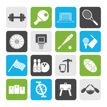 rugger: Flat Sports gear and tools - vector icon set Illustration