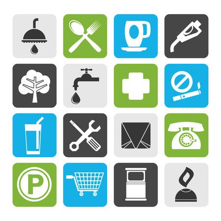 petrol station: Flat Petrol Station and Travel icons - Vector Icon Set Illustration