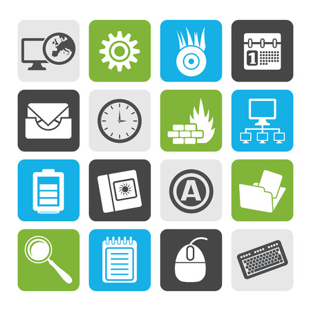 mobile internet: Flat Computer, mobile phone and Internet icons -  Vector Icon Set Illustration