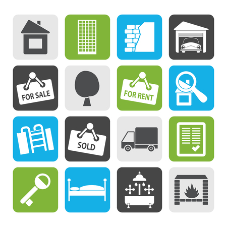 car for sale: Flat Real Estate icons - Vector Icon Set