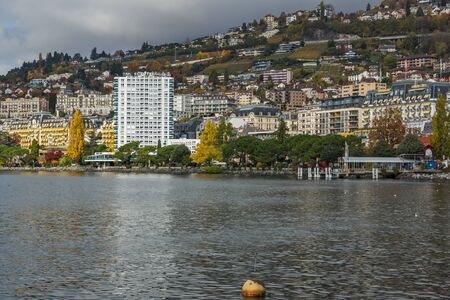montreux: Panoramic view to Montreux and Lake Geneva, canton of Vaud, Switzerland